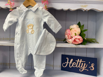 Teddy Bear Blue & Hat Set - Hetty's Baby Boutique