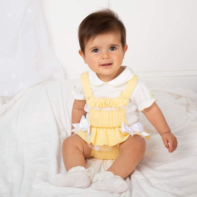 Caramelo Lemon Knitted Romper Set with Bows - Hetty's Baby Boutique