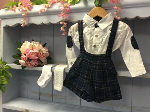 Boutique Tartan Dungaree Set with Blouse - Hetty's Baby Boutique