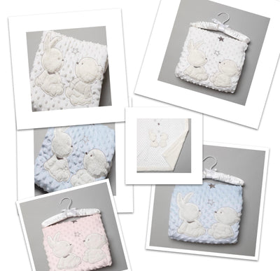 Bunny & Teddy Bobble Blanket - Hetty's Baby Boutique