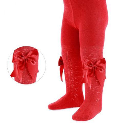 Red Heart Tights with Bows - Hetty's Baby Boutique