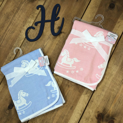Blue and Pink Rocking Horse Reversible Baby Wraps - Hetty's Baby Boutique