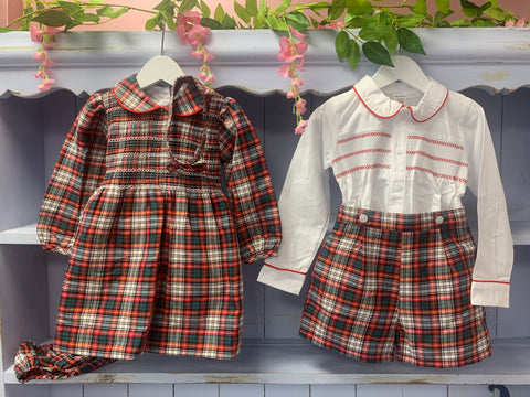 """Noel"" Tartan Check Matching Girls & Boys Smock Set - Hetty's Baby Boutique"