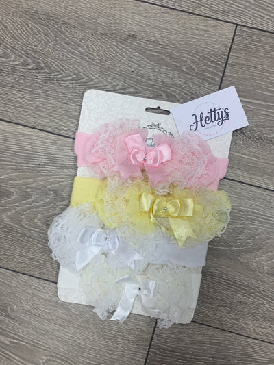Luxury Tutu Lace & Bow Trim Headband - Various Colour - Hetty's Baby Boutique