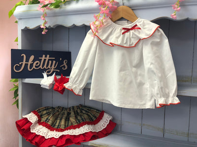 Boutique White Blouse with Beige Tartan Skirt - Hetty's Baby Boutique