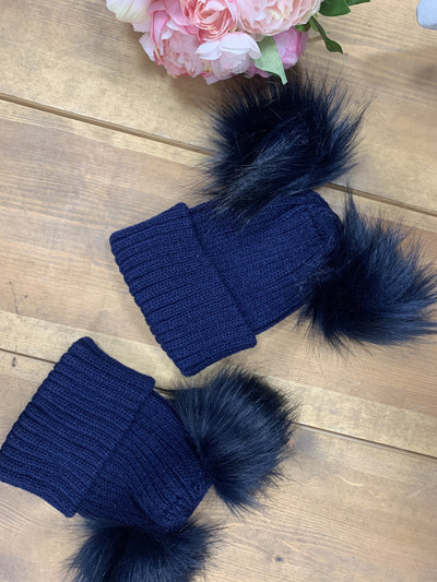 """Charlie"" Navy Double Pom Hat - Hetty's Baby Boutique"