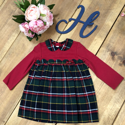 Mayoral Boutique Green and Red Checked Dress - Hetty's Baby Boutique