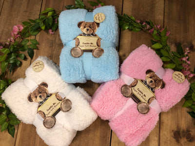 Super Soft Teddy Blankets - Blue, Pink or White - Hetty's Baby Boutique
