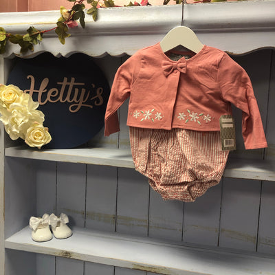 Coral Stripe Romper with Daisy Bolero Set - Hetty's Baby Boutique