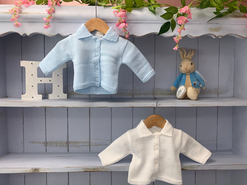White & blue Collared Cardigan - Hetty's Baby Boutique