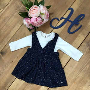 Mayoral Luxury Navy Pinafore Dress with Ivory Long Sleeve Top - Hetty's Baby Boutique