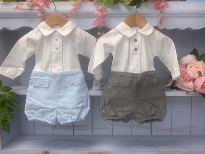 Boutique Grey Short Set with Shirt - Hetty's Baby Boutique