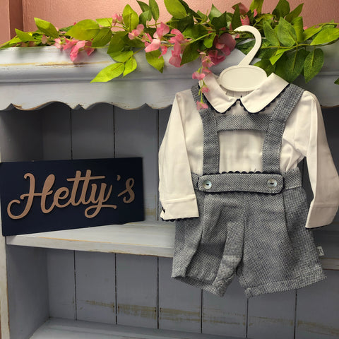 Boutique Blue Tweed-Style Dungaree Set - Hetty's Baby Boutique