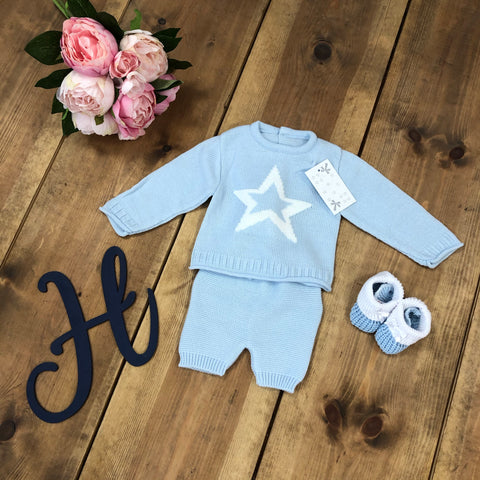 Blue Luxury Star Knitted Set with Pom Hat