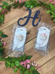Blue & Pink Bear Dummy Clip - Hetty's Baby Boutique