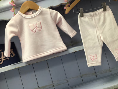 """Laura"" 0/3 & 3/6M Pink Bow Boutique Lounge wear - Hetty's Baby Boutique"