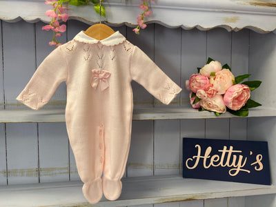 3/6/12M  Sardon Luxury Pink Knitted All In One - Hetty's Baby Boutique
