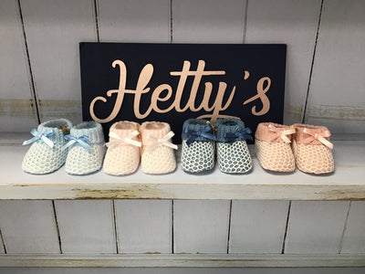 Spanish Crochet Style Knitted Booties - Hetty's Baby Boutique