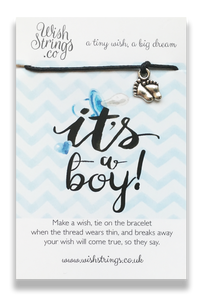 Its a Boy Wish String Bracelet - Hetty's Baby Boutique