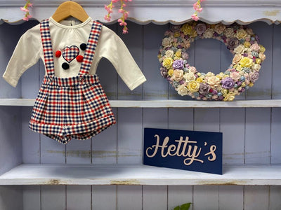 Luxury Premium Dungaree Shorts And Pom Top Set - Hetty's Baby Boutique