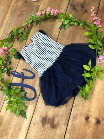 Navy And White Stripe Tutu Dress - Hetty's Baby Boutique