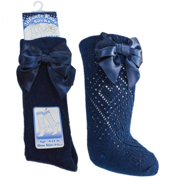 Red or Navy Bow Socks - Hetty's Baby Boutique