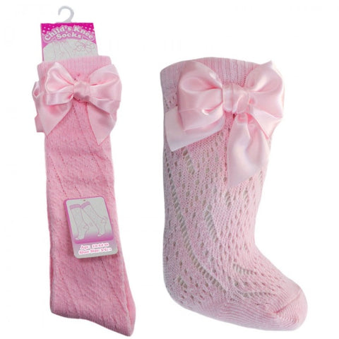 Pink & White Summer Bow Socks - Hetty's Baby Boutique