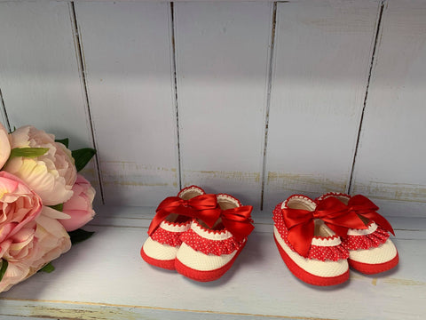 "'Minnie"" Red Dotty Pram Shoes"