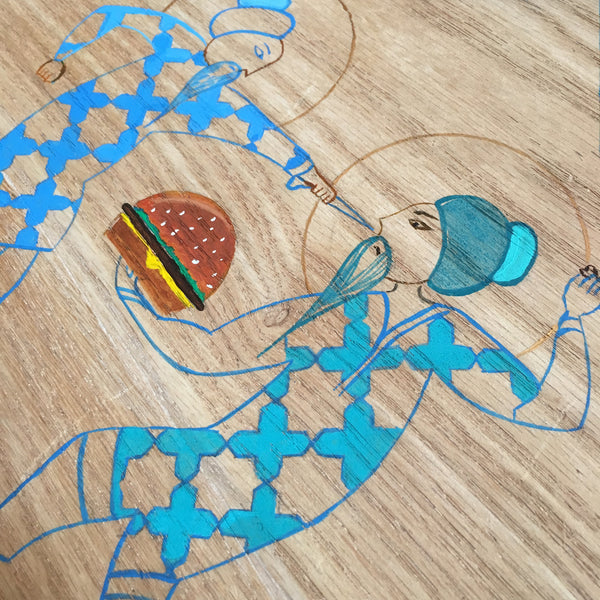 Burger War - Handpainted on Wood
