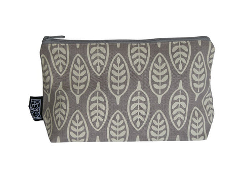 Cotton cosmetic bag with a light grey paddle leaf motif on a darker silver grey background.