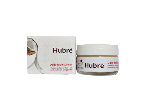 Hubré anti-ageing coconut water moisturiser with peptides.