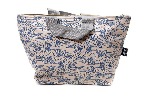 Spacious cotton vanity bag with wide base, carry handles and zipper. Blue Galjoen Design on Sandy Background.