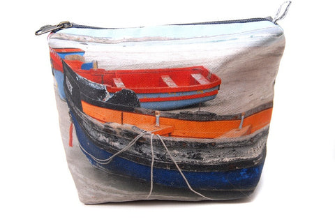 Durable canvas bathroom bag with printed on fishermen's boats scene.