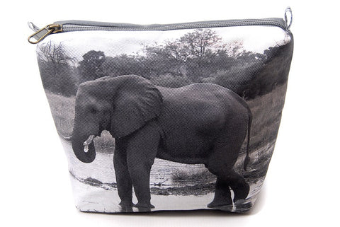 Durable canvas bathroom bag with digitally printed photo of an elephant.