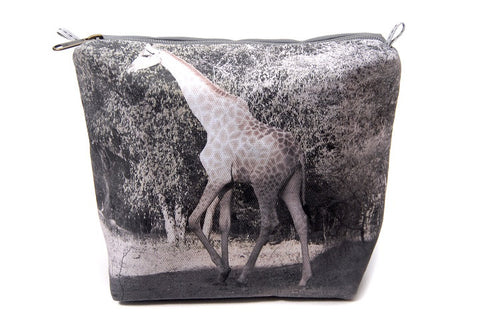 Durable canvas bathroom bag with digitally printed photo of a giraffe.