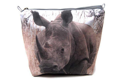 Durable canvas bathroom bag with a digitally printed close up photo of a rhinoceros.