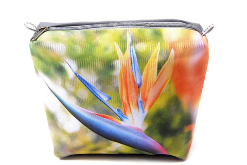 Durable canvas bathroom bag with a digitally printed photo of the strelitzia flower. Aka Bird of Paradise.