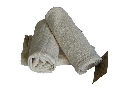 Natural colour hand woven cotton hand towel with textured stripe detail.