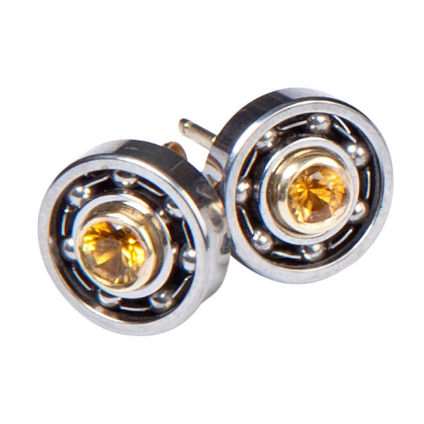 Gold & Citrine Ball Bearing earrings