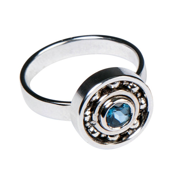 Blue Topaz Ball Bearing ring