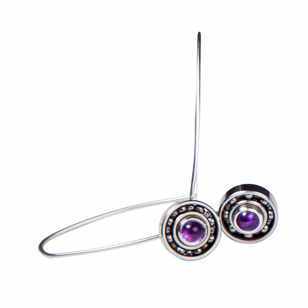 Amethyst long Ball Bearing earrings