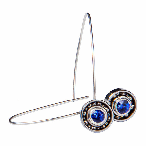 Sapphire long Ball Bearing earrings
