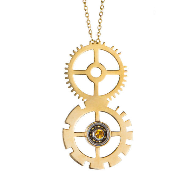 Citrine clock gear pendant