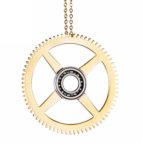 Brass clock gear pendant