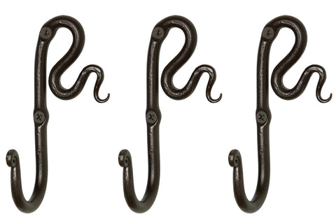 Right Squiggle Wall Hook - Set Of 3