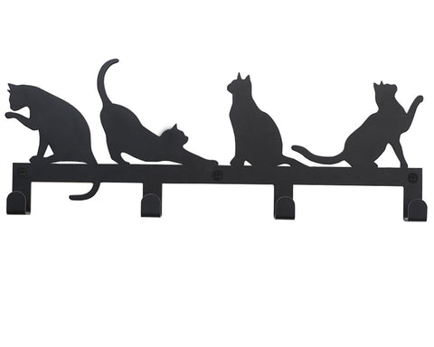4 Hooks Wall Mounted Holder with Cat Décor