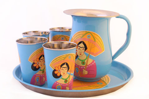 Hand Painted Stainless Steel Cold Drink Serving Set
