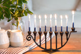 9 Candle Handmade Iron Chanukah Menorah Flat Base