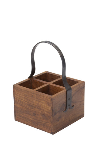 4 - Piece Wood and Iron Cutlery Holder