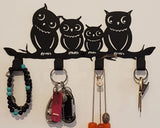 4 Hooks Wall Mounted Holder with Owl Décor